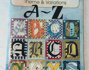Aanraku ALPHABETS Stained Glass Pattern Book Funky Block Script Horizontal Fonts