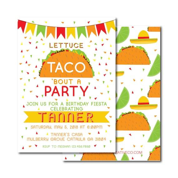 taco birthday invitation fiesta birthday invite cinco de etsy
