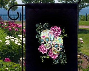 pink roses sugar skulls new small garden yard flag decor day of the dead - Small Garden Flags
