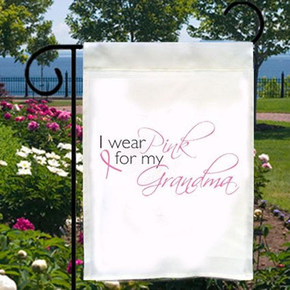 Rose que je porte pour ma grand-mère nouveau jardin petit drapeau, ruban rose de sensibilisation au Cancer du sein
