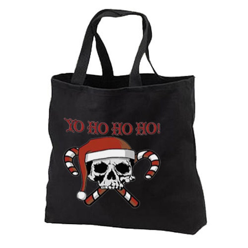 Christmas Holiday Yo Ho Ho Pirate Skull Santa New Black Tote Bag