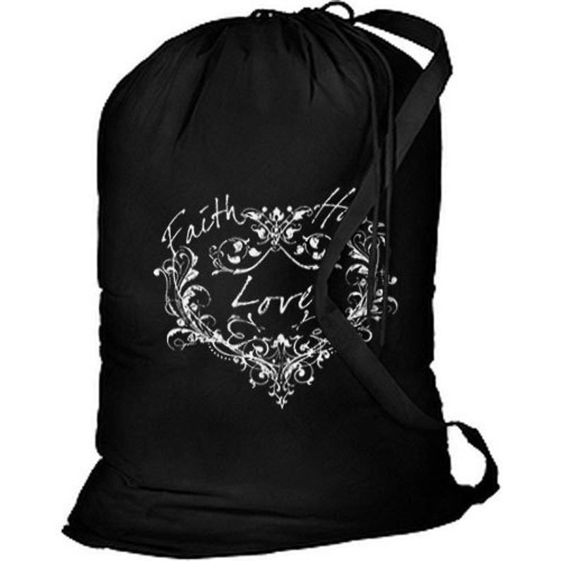 Faith Hope Love Heart New Cotton Laundry Bag Camping Travel Duffle Tote