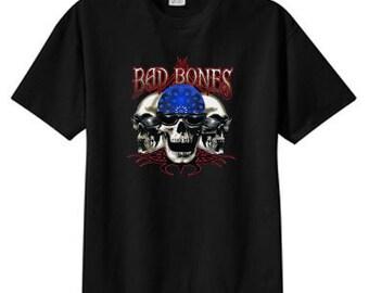 Bad Bones Biker Skulls New T Shirt, S M L XL 2X 3X 4X 5X