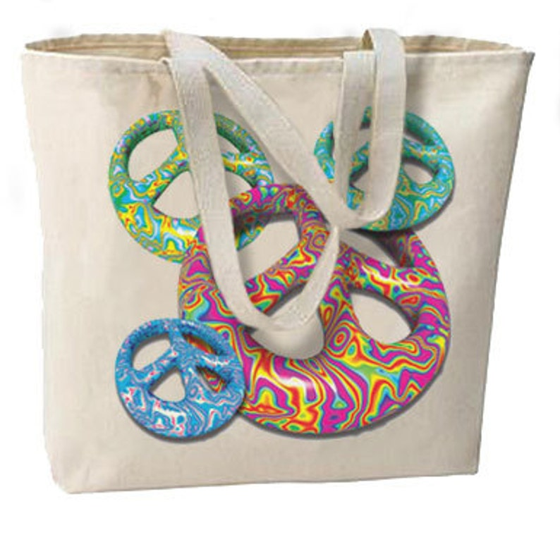 Groovy Peace New Large Canvas Tote Bag Shopping Fun Bag All Purpose