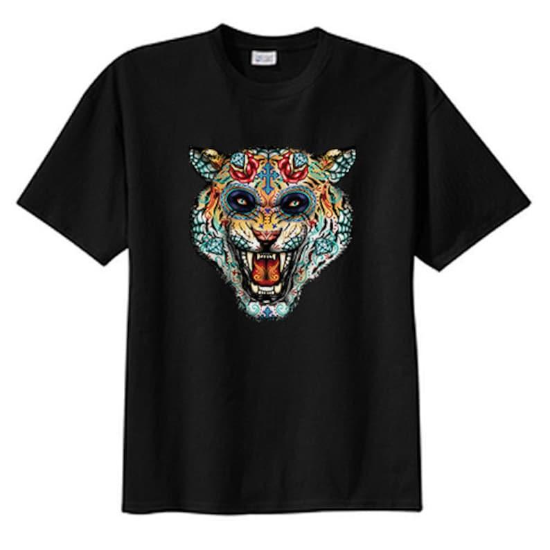 Sugar Skull Wild Cat Tiger New T Shirt s m l xl 2x 3x 4x 5x Day of the Dead