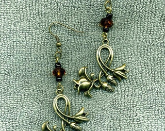 Antique Bronze Flowery Vine New Earrings, Handmade