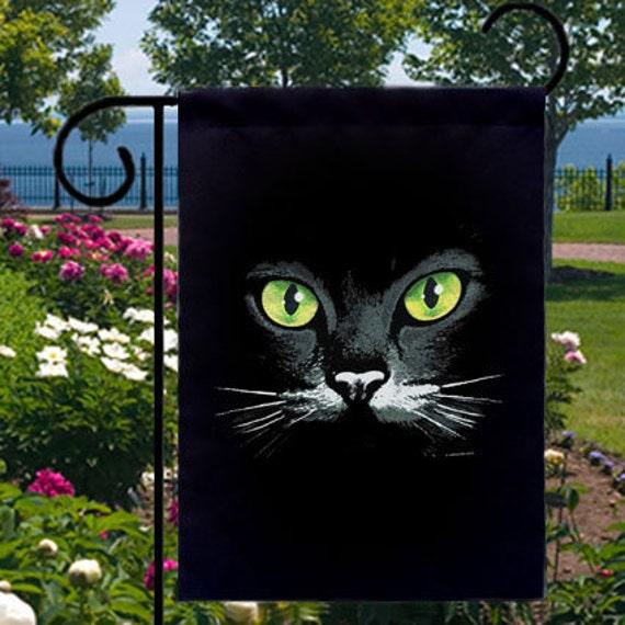 Green Eyes Black Cat New Small Garden Yard Flag Uniquely Cool Etsy