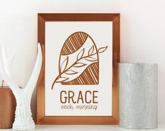 Grace Each Morning Foil Print