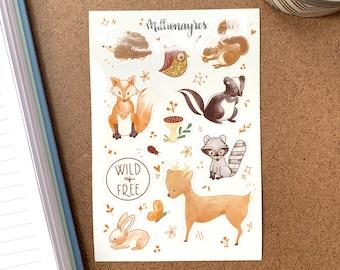 Woodland Fauna Sticker Sheet   BuJo Stickers   Planner Stickers   Scrapbook Stickers   Bullet Journal Stickers