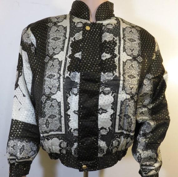 Malverde Vintage 90's Baroque Bomber Jacket Metal… - image 2