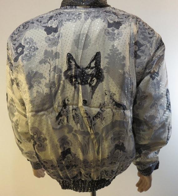 Vintage 1990s Baroque Silk Coat Bomber Jacket Sty… - image 1