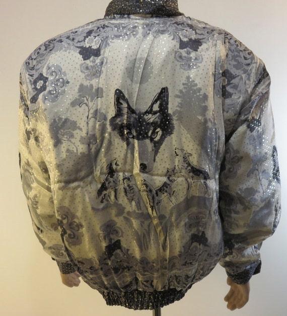 Vintage 1990s Baroque Silk Coat Bomber Jacket Sty… - image 4