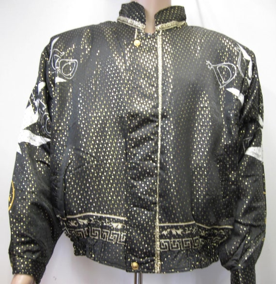 Vintage 1990's Baroque style Bomber Jacket Metall… - image 2