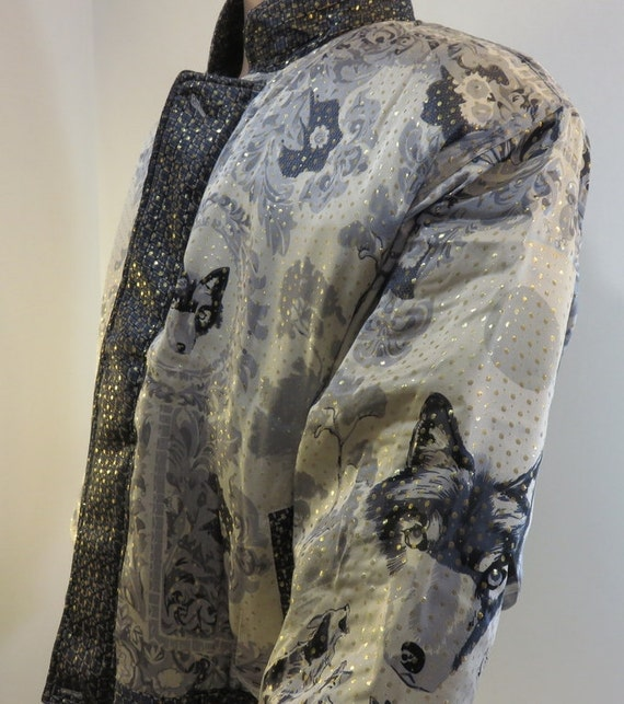 Vintage 1990s Baroque Silk Coat Bomber Jacket Sty… - image 2