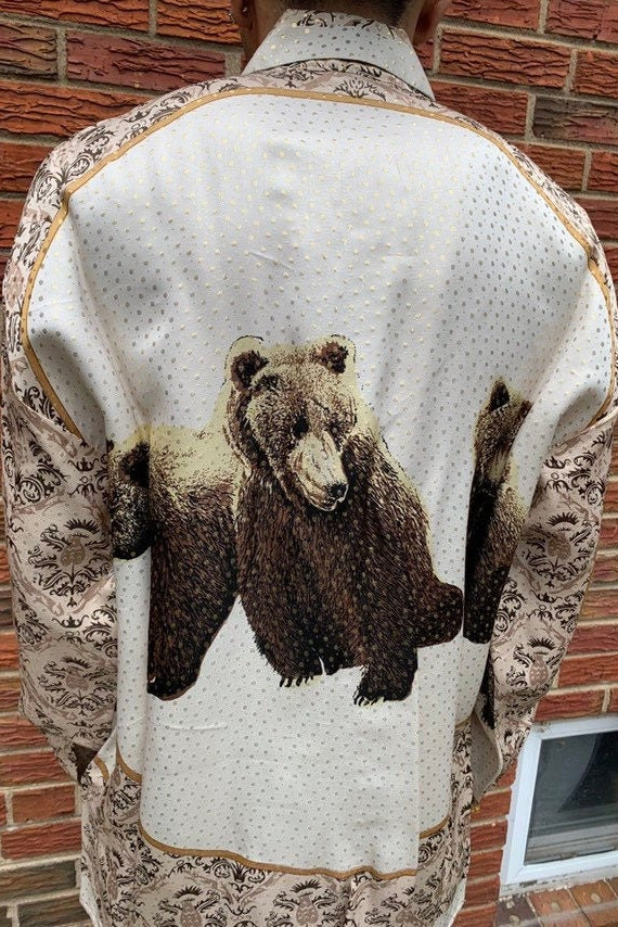 """Vintage 1990s """" Bears """" Metallic Silk Multicolored"""