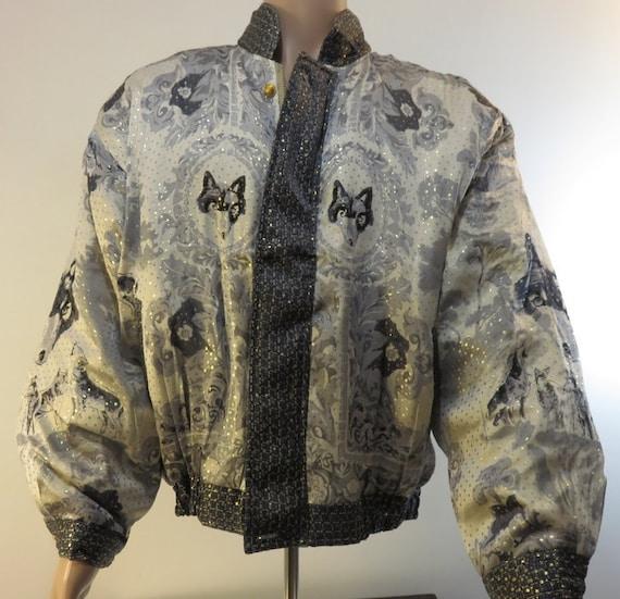 Vintage 1990s Baroque Silk Coat Bomber Jacket Sty… - image 3