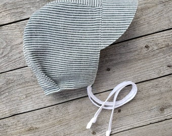 0-6 Months Reversible Natural  Linen  Antique Rose Baby Girl Linen Bonnet