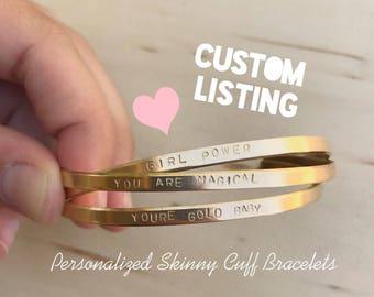 Custom Personalized SKINNY Cuff Bracelets // Custom Bracelets in Nugold