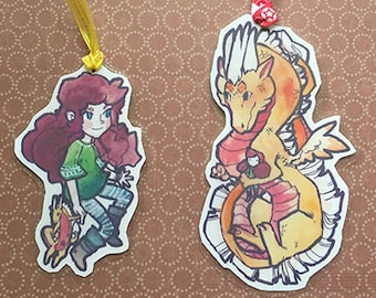 Fille et Dragon stratifié amitié signets