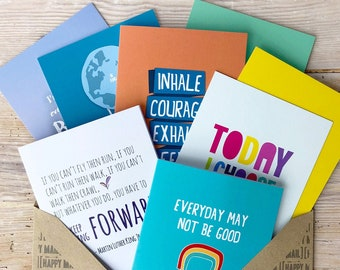 Stationery Set, Postcard Pack, Happy Mail, Rainbow Card, Greetings Cards, Inspirational Postcards, I Miss You Card, Hard Times Card.