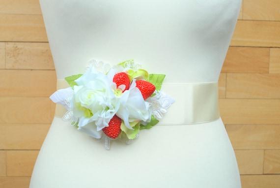 White Rose Red Strawberry Bridal Belt Sash Bridal Flower