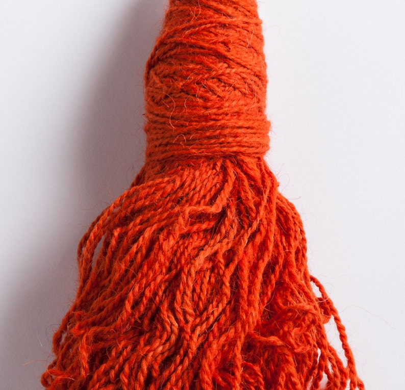 Coral Hand spun natural dyed fingering yarn wool blend in 50g squid skein