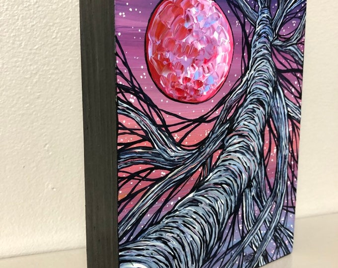"Full Moon Purple Night Tree 5x7"" original acrylic painting by Tracy Levesque"
