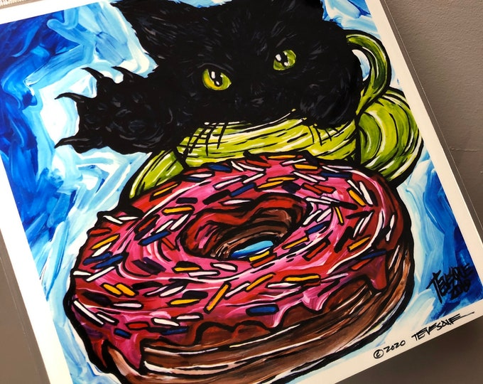 "8x8"" Caturday Donut Metallic photographic print with artwork by Tracy Levesque"