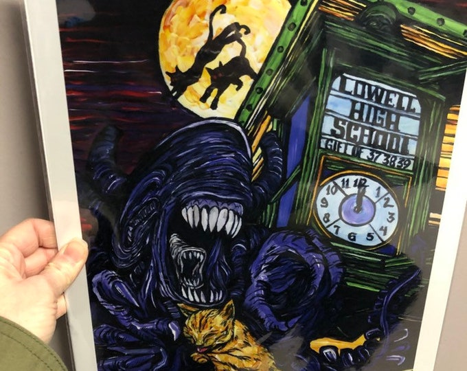 "11x14"" Limited Edition Print of Alien Xenomorph and Cat Meet Me Under the Clock Lowell, MA by Tracy Levesque"