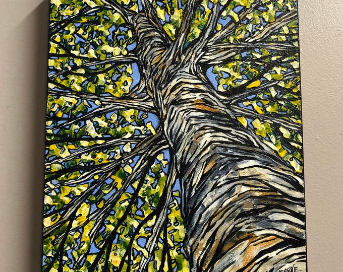 "11x14"" Ivory Birch original acrylic painting by Tracy Levesque"