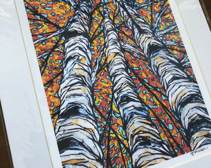 "Skyward Birches 11x14"" matted giclee print by Tracy Levesque (print size is approximately 8x10"" inside 11x14"" mat)"