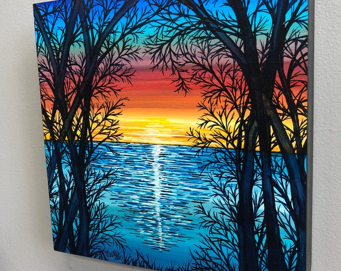 Scenic Sunset, original acrylic painting by Tracy Levesque