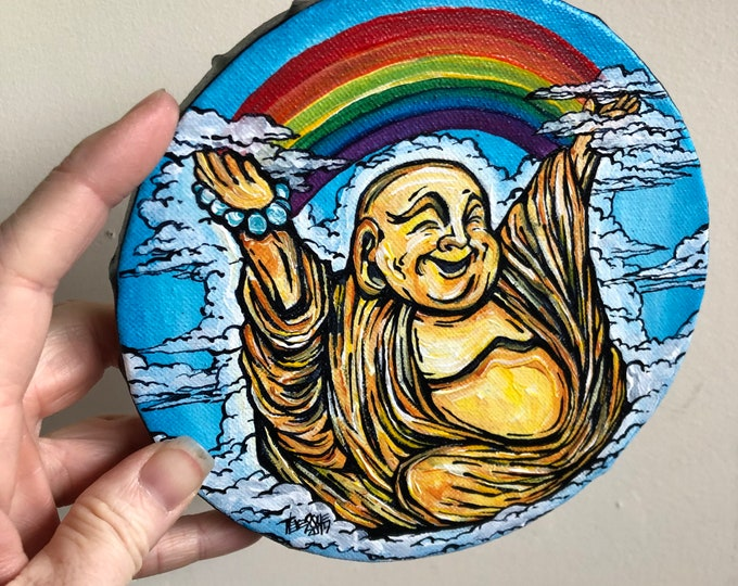 "6"" Round Laughing Rainbow Buddha original acrylic painting by Tracy Levesque"