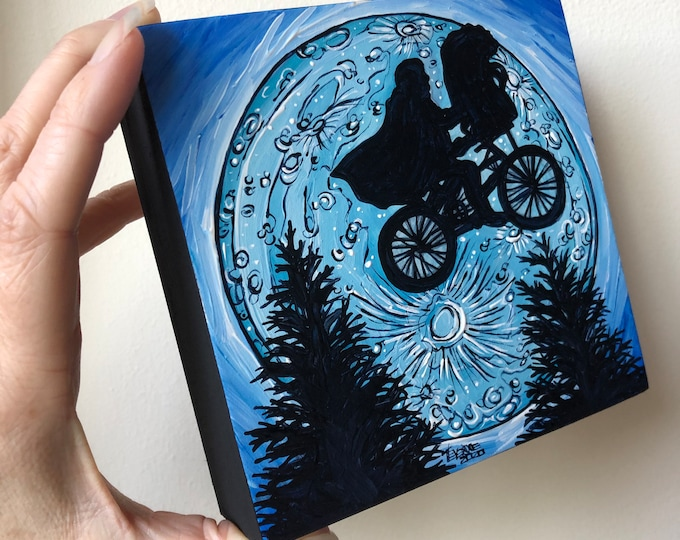 """5x5"""" E.T. the Extra-terrestrial Bike Moon mini acrylic painting by Tracy Levesque"""