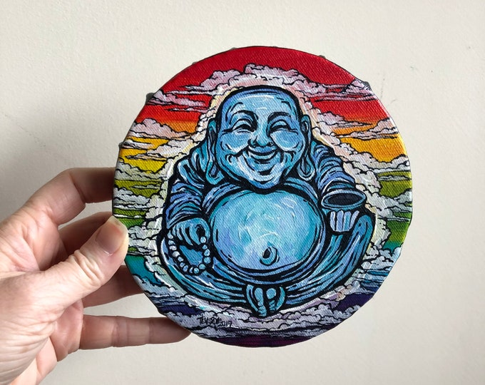 "6"" Round Lucky Rainbow Buddha original acrylic painting by Tracy Levesque"