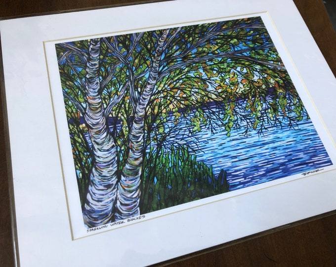 "Sparkling Water Birches 11x14"" giclee print by Tracy Levesque"