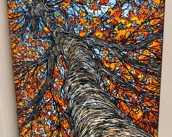 "Burning Birch, 18x24"" original acrylic painting by Tracy Levesque"