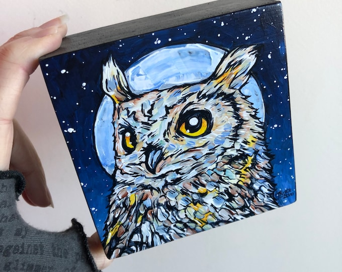 "4x4"" Wisdom Owl, original acrylic painting by Tracy Levesque"
