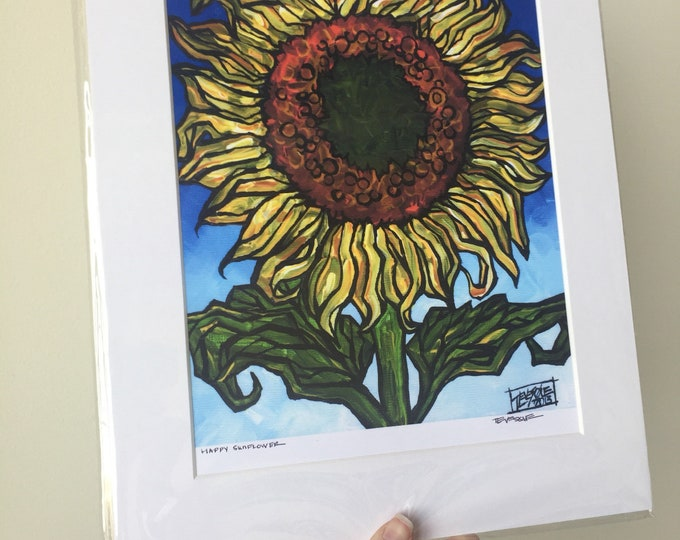 """11x14"""" Matted Giclee Print of a Sunflower by Tracy Levesque"""