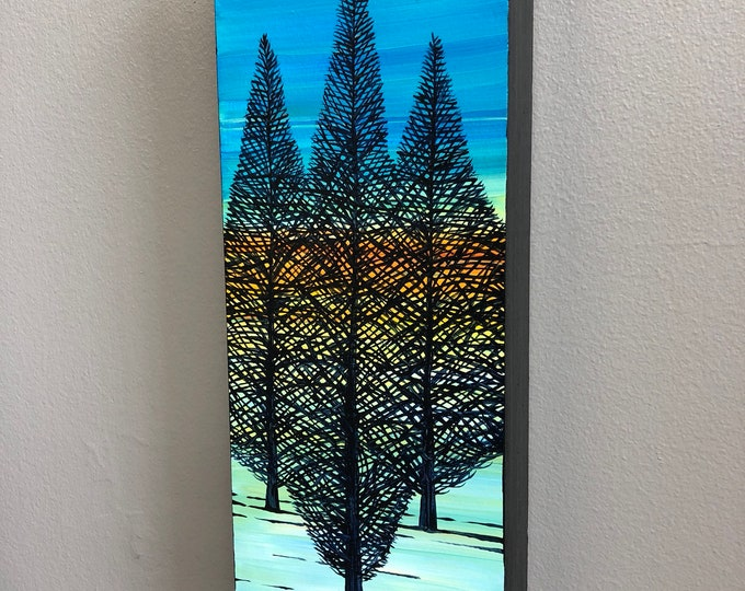 The Three Trees, original acrylic painting by Tracy Levesque