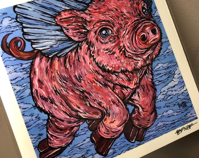 "8x8"" Pigasus Flying Pig Print by Tracy Levesque"