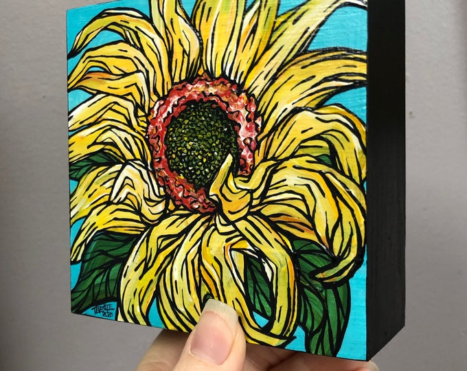 """4x4"""" Sunflower Delight original acrylic painting by Tracy Levesque"""