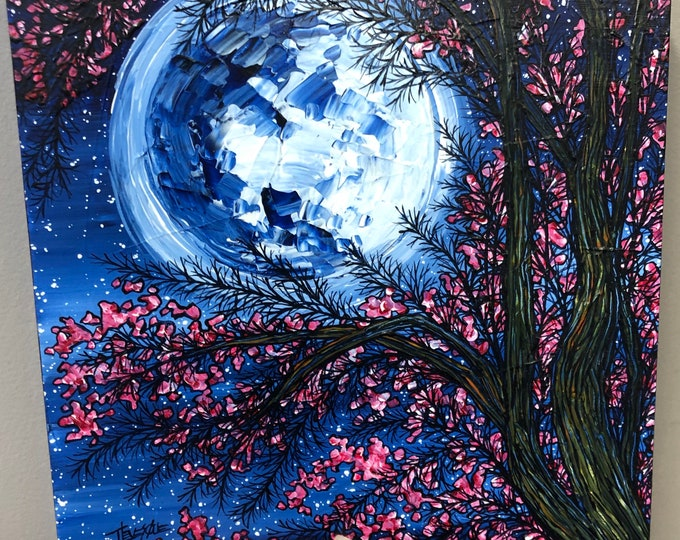 """Mystical Cherry Blossom Moon 10x10"""" original acrylic painting by Tracy Levesque"""