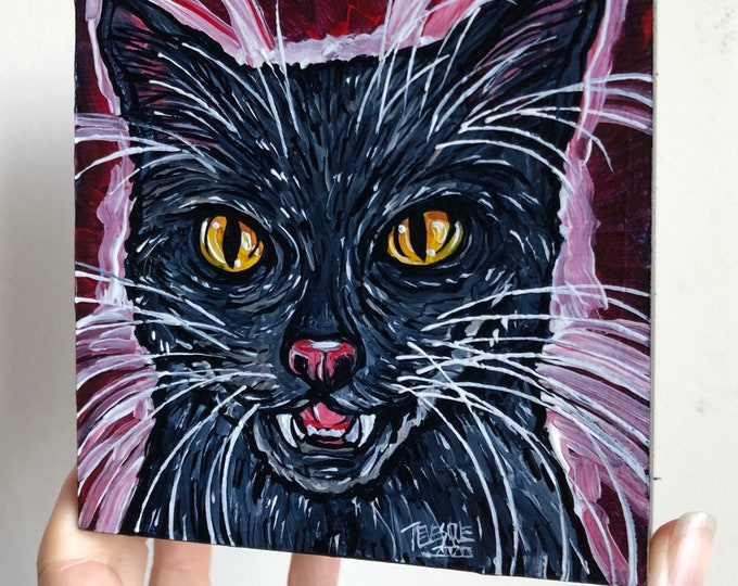 """4x4"""" Dracula Black Cat original acrylic painting by Tracy Levesque"""