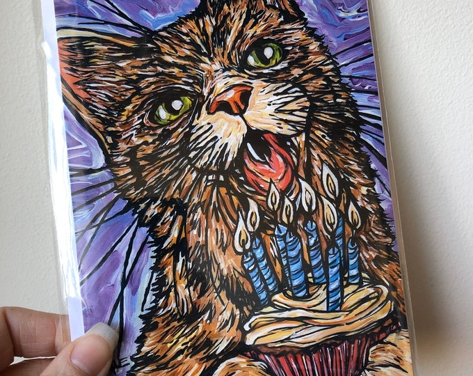 """5x7"""" Crazy cat birthday card featuring artwork by Tracy Levesque"""