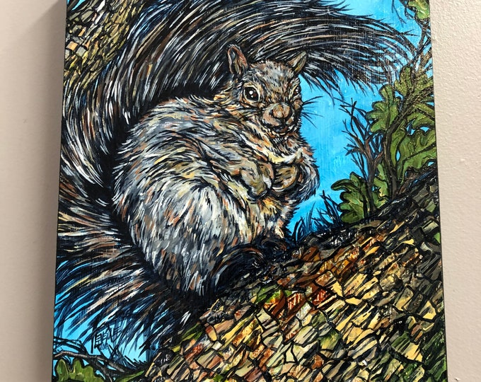 "11x14"" Squirrel in Tree original acrylic painting by Tracy Levesque"