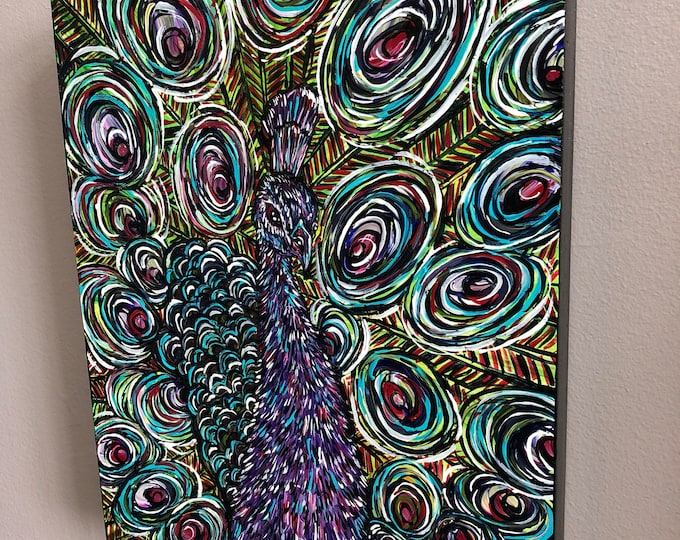 Purple Peacock, orginal acrylic painting by Tracy Levesque