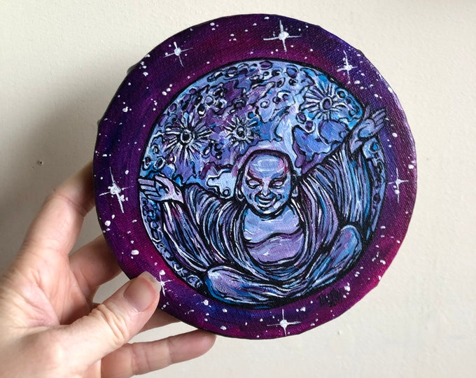 "6"" Round Laughing Moon Buddha original acrylic painting by Tracy Levesque"