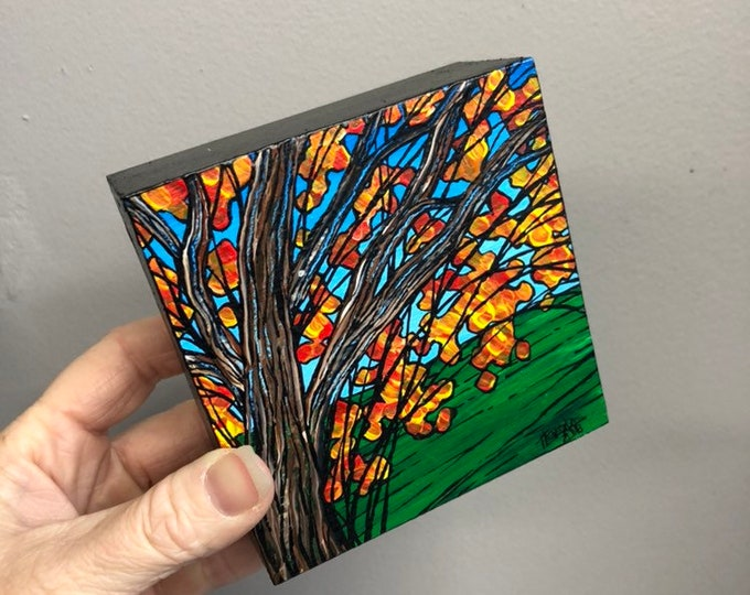 "4x4"" One of a kind Brown Tree painting FB5 by Tracy Levesque"