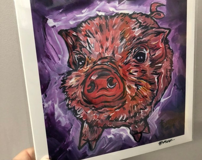 "8x8"" Print of Adorable Piglet Looking Up, Piggy Love by Tracy Levesque"